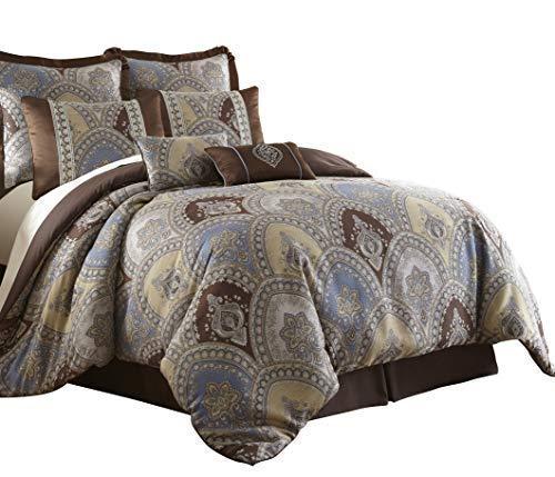 - Sterling Creek Venetian 8-Piece Medallion Floral Jacquard Oversized Comforter Set (King)