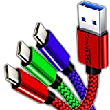[3 PACK] - (Red, Blue, Green) Micro USB Cable Nylon Braided Charging Charger Cord Data Sync Cable For Cellphones / Cameras / Hard drive / Any device with Micro USB port (15FT)