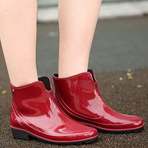 Wealsex Boot Rosso Pioggia Antiscivolo Scarpe Impermeabile Rain Gomma Stivali Donna I6rwxq6Ag