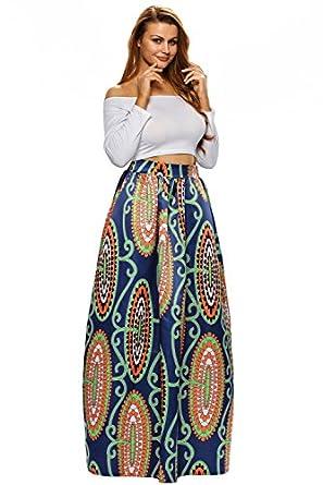 Mayskey Women\'s African Print Pleated High Waist A Line Maxi Skirt ...