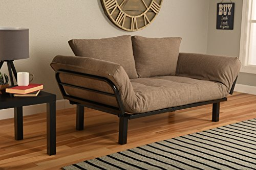 Kodiak Best Futon Lounger Sit Lounge Sleep Smaller Size Furniture is Perfect for College Dorm Bedroom Studio Apartment Guest Room Covered Patio Porch (Light Brown Stone Linen) (Patio Stone Covered)