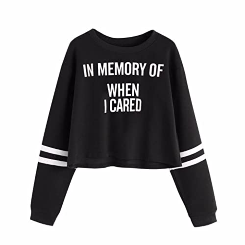 Vovotrade Mujer Letras IN MEMORY WHEN I CARED Pullover Blusa Apliques Manga Larga Sudaderas Calent...