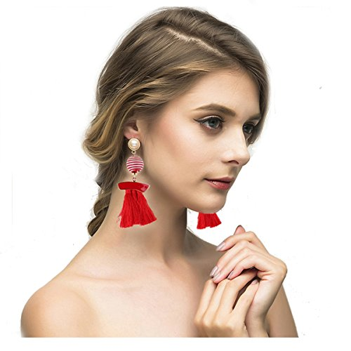 Dolovely Bohemian Thread Red Tassel Pom Pom Drop Dangle Earrings with Pearl Stud Soriee Ball Earrings for Women Grils (Enamel Chandelier Earrings)