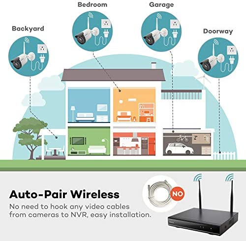 【Expandable 8CH, Audio】 ONWOTE 1080P Wireless WiFi Security Camera System Outdoor, 8 Channel NVR, (4) 1080P 2.0MP IP Security Surveillance Cameras for Home, One-Way Audio, 80ft IR, No Hard Drive 51C7ZRIV0yL