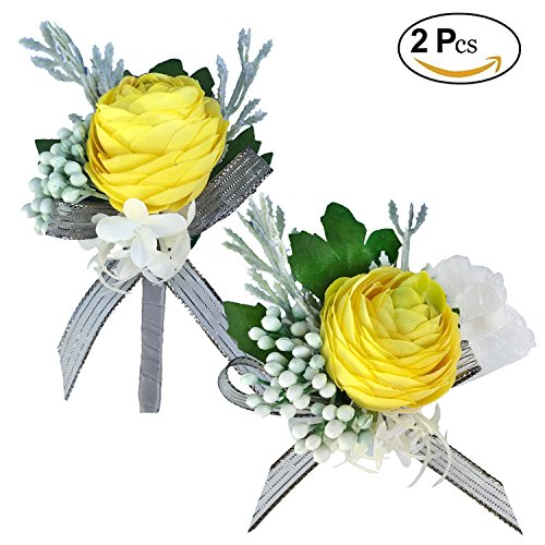 DALAMODA Yellow Rose Boutonniere and Wrist Corsage for Wedding Prom Bridesmaid/Groom Party or Any School Business Party Pack of 2 -
