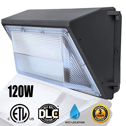 (LED Wall Pack Lights 120W,(5000K Daylight Wall Pack),Commercial and Industrial Outdoor Wall Pack Lighting 500~600W HPS/HID Bulb Replacement Waterproof LED Flood Light)