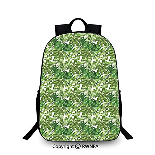 Travel waterproof schoolbag,Mix of Jungle Foliage Leaves Madagascar Aloha Botanical Forest Plant Decorative Backpack Cool Children Bookbag, Green Olive Green White