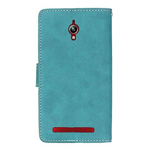 YHUISEN Estilo retro de color sólido Premium PU caja de cuero de la carcasa Flip Folio cubierta protectora de la caja con ranura para tarjeta / Stand para Asus Zenfone Go ZC500TG ( Color : Gray White  Blue