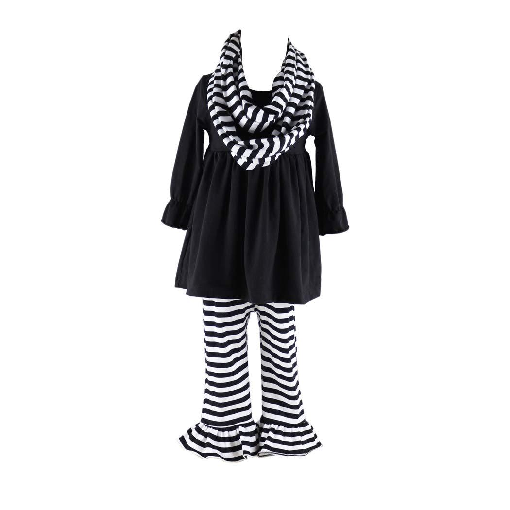 756914f1cd22 Amazon.com: Wennikids 3 Pieces Girls Kids Outfits Ruffle Pants Clothing  Set: Clothing