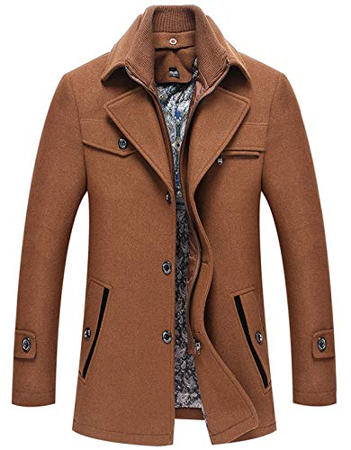 - chouyatou Men's Winter Removable Collar Single Breasted Heavyweight Wool Blend Walker Coats (X-Large, Brown)