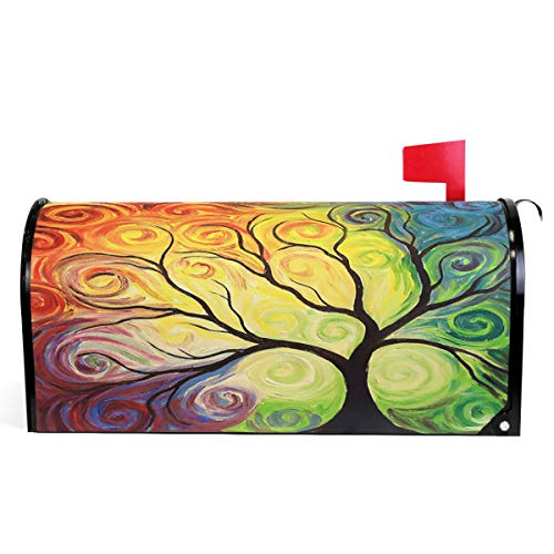 (Colorful Rainbow Tree of Life Branch Mailbox Covers Large Abstract Tree of Life Summer Spring Autumn Winter Magnetic Mail Cover Letter Post Box Oversized 25.5
