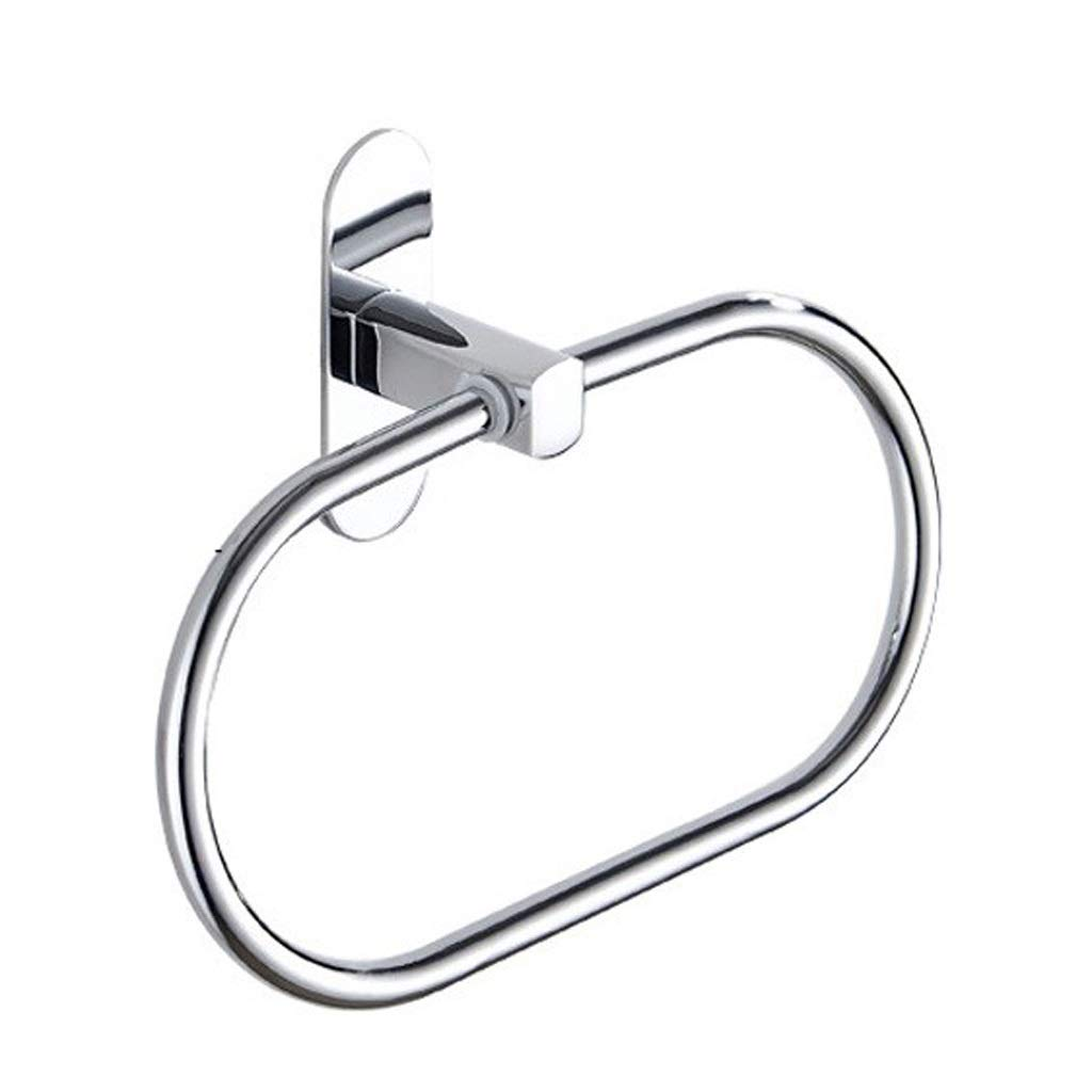 ETERLY Round Towel Ring - Bathroom Towel Rack - Stainless Steel Towel Holder, Kitchen Storage - Punch Free - Silver White Tower Hanger