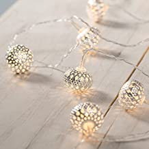 [Double Power Modes] Battery Operated Remote LED Globe String Lights with Silver Moroccan Lamp 15 Feet 30 LED Fairy Light (Timer, 8 Modes , Warm White)