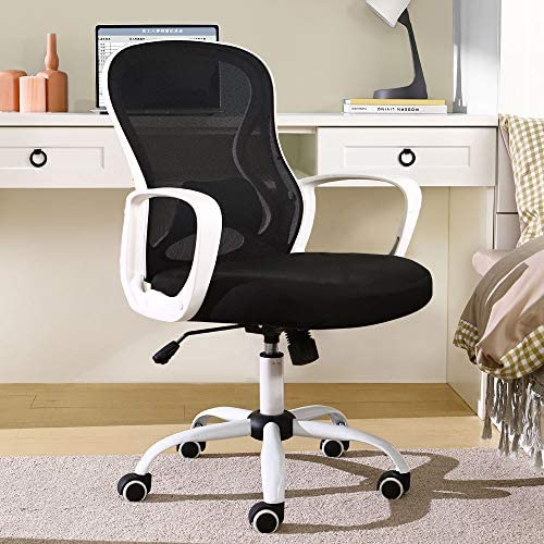 BERLMAN Mid Back Mesh Office Chair Adjustable Height Desk Chair Swivel Chair Computer Chair with Armrest Lumbar Support (White)
