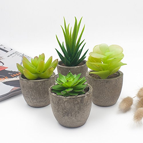 Office Outdoor Console Table - Ebristar Artificial Succulent Plants with Gray Pots, Small Fake Green Potted Plants Succulent Plants for Home & Office Decoration - Set of 4