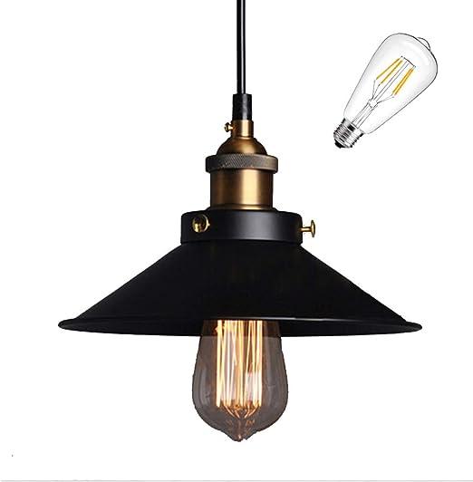 E27 Métal Retro Suspensions Luminaires Vintage Plafonniers Luminaire Plafond Lustre Edison de Culot E27 Suspensions Eclairage de Plafond Noire