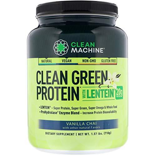 Clean Machine Clean Green Protein with Lentein, Vanilla Chai, 1.75 lbs, 20 Serving (Clean Machine)