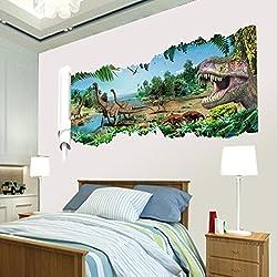 Kemilove 3D Cartoon Dinosaur Tyrannosaurus Wall Stickers Mural Decal Art Quotes Art Home Room Decor Decoration (A)