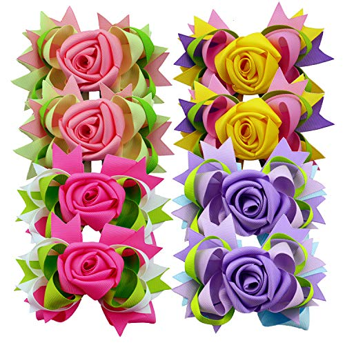 Rose Flower Hair Bows 5 inch Big Ribbon Boutique Bows Clips for Girls Teens
