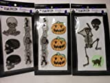 Halloween Reflective Stickers Skeletons Pumpkins Cats 3 Packages