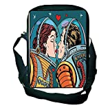 3D Print Design One Shoulder Small Satchel Love Decor,Space Man and Woman Astronauts Kissing Science Cosmos Fantasy Couple Pop Art Style Artful Print,Multi for Boys,Print Design,9.4''×6.3''×2.4''.