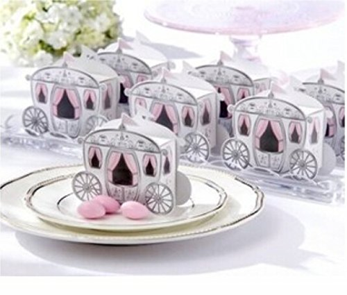Fairy Candy Box - Pumud Cinderella Fairy Tale Carriage Wedding Gift Favor Candy Boxes (100 Pieces)