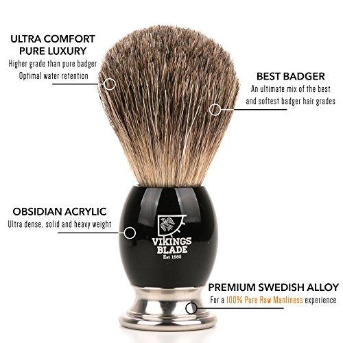 VIKINGS BLADE Luxury Badger Brush, Heavy Swedish Alloy Base + Obsidian Acrylic, Dark Stallion