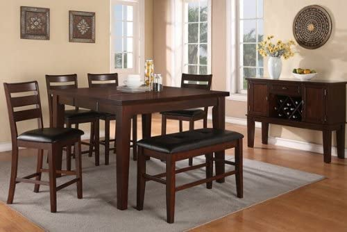 6 pc antique walnut finish wood counter height dining table set with leaf