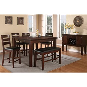 antique walnut finish wood counter height dining table set leaf costco rectangular with cabrillo 9 piece cappuccino dini