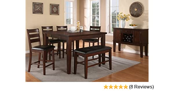 Amazon.com   6 Pc Antique Walnut Finish Wood Counter Height Dining Table  Set With Leaf   Table U0026 Chair Sets