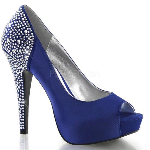 Fabulicious Vrouwen Lolita 08 Strass Mode Pumps Koningsblauw Zijde Satijn