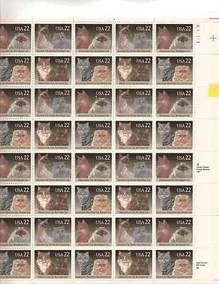 Cats Sheet of 50 x 22 Cent US Postage Stamps Scott 2372-75 by USPS