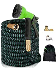 """AnyTop Flexible Expandable Garden Hose & 8 Function Spray Nozzle with 3/4"""" Universal Solid Brass Fittings & Double Latex Core, Rot, Crack, Leak Resistant, Lightweight Water Hose (25-50 FT) (Green)"""