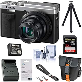 Panasonic LUMIX DC-ZS80, 20.3 Megapixel, 4K Digital Camera, 30X Zoom DC-ZS80S (Silver), Battery, Charger, Bag, Peak Design Wrist Strap, FotoPro UFO 2 Tripod, 32GB SD Card, Cleaning Kit, LCD Protector