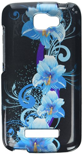 Eagle Cell Alcatel OneTouch Fierce 2 7040T/Pop Icon A564C Snap On Protector Case - Retail Packaging - Four Blue Flowers
