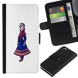 KLONGSHOP // Tirón de la caja Cartera de cuero con ranuras para tarjetas - Pintura nativo Nacional Girl Dress Azul Arte - Apple Iphone 6 //