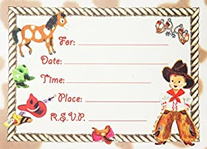 dolce mia western tots cowboy party invitations party pack 8 cards - Cowboy Party Invitations
