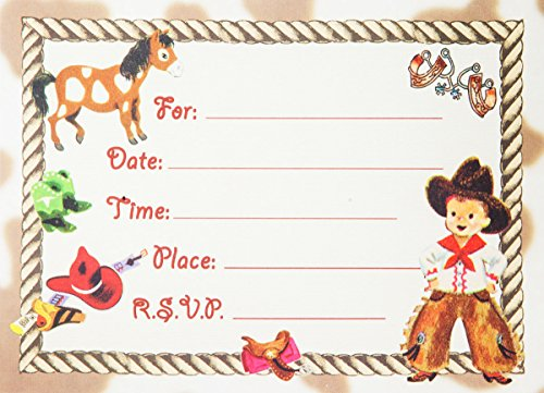 Dolce Mia Western Tots Cowboy Party Invitations Party Pack - 8 cards