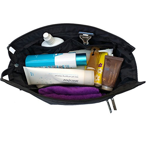 Freeprint Spacious Water-resistant Travel Toiletry Bag Dopp Kit for Men and Women, Black by Freeprint (Image #2)