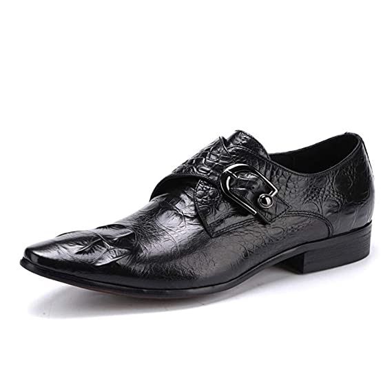 FLYSXP Zapatos De Cuero Ocasionales De Los Hombres Una Pierna Patas De Los Hombres En Punta Patrón De Cocodrilo…