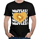 oster dry iron - ZhiqianDF Mens Waffles Funny Outdoor Black Tee L Short Sleeve