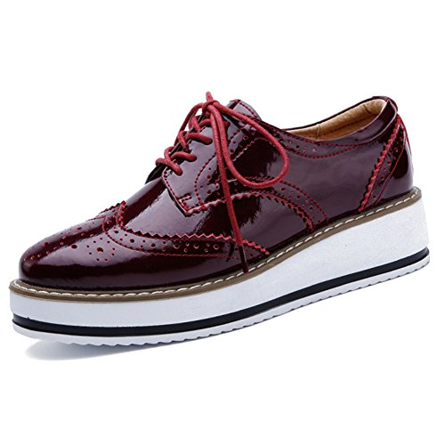 YING LAN Women's Platform Lace-Up Wingtips Square Toe Oxfords Shoe Red