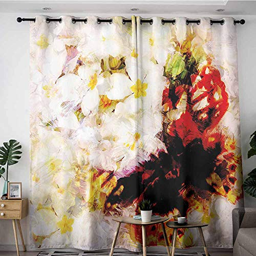 (Onefzc Waterproof Window Curtains,Paisley Decor Flower Garden with Orchids Roses Jasmines and Butterflies Abstract Decor,for Bedroom Grommet Drapes,W72x96L,Multicolor)