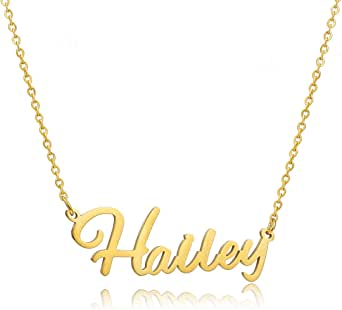 Moronly Personalized Name Necklace for Women 316 Stainless Steel Nameplate Pendant Necklace Hypoallergenic Jewelry(H~L)