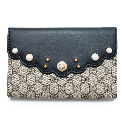 Gucci GG Supreme Moon Beige Ebony Nero Black Brown Pouch Wallet Bag New Box Italy by Gucci