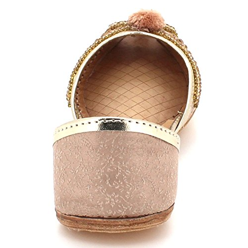 AARZ LONDON Women Ladies Traditional Peeptoe Ethnic Bridal Handmade Leather Flat Khussa Indian Pumps Slip On Shoes Size Champagne UhAx1U