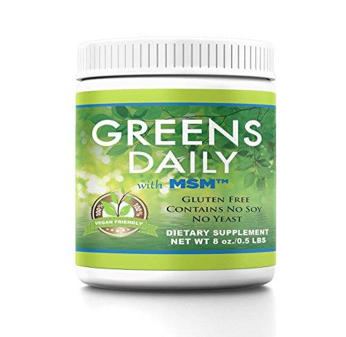 Greens Daily with MSM 8oz Powder 2000mg Ultimate Superfood Green Grasses & Vegetable Drink Vegan Friendly Gluten & Soy Free Dietary Supplement 113 Servings