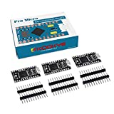 KOOKYE 3PCS Black Pro Micro Board ATmega32U4 5V/16MHz Module Board with 2 Row Pin Header for Arduino Leonardo Replace ATmega328 Arduino Pro Mini Black