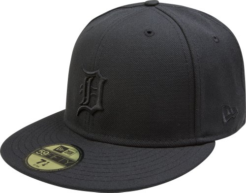 MLB Detroit Tigers Black on Black 59FIFTY Fitted Cap, 7 3/4