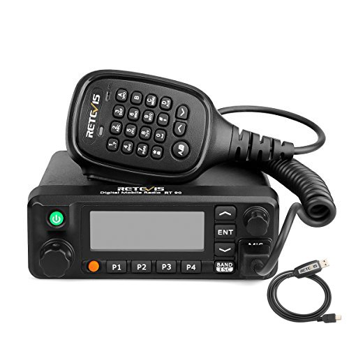 Retevis RT90 Mobile Two Way Radio Dual Band 136-174MHz/400-480Mhz 50W, 250 Zones, 3000 Channel, 10000 Contacts Digital DMR Amateur Mobile Radio with Record Function Programming Cable (Black, 1 Pack)